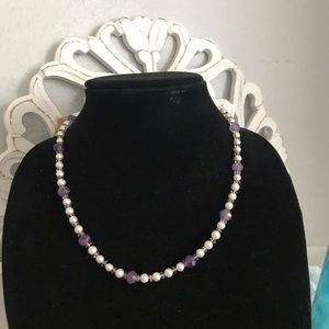 Genuine Pearl & Purple Beads Necklace